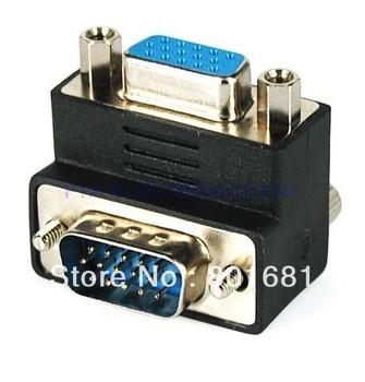 Right Angle 90 Degree VGA SVGA Male To Female Adapter VGA Adapter Right Angle+Free Shipping