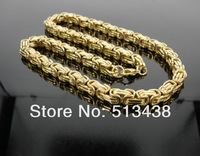21.6'' strong men's jewelry 18K gold 100% Stainless Steel 8mm byzantine chain necklace ,free shipping.
