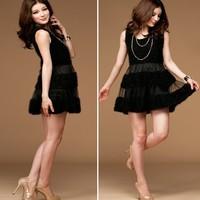 118713 woolen patchwork one-piece dress