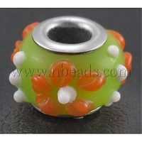 Handmade Lampwork European Beads,  with Silver Color Brass Core,  Rondelle,  GreenYellow/Orange,  about 11.5~14mm wide