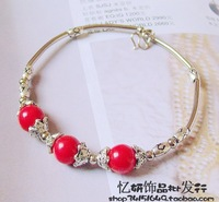 National accessories miao silver unique vintage Women diy handmade color bead bracelet
