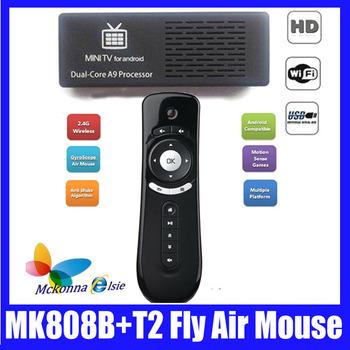 DHL/EMS Free,10Pcs/lot=5Pcs T2 TV Motion Stick,Fly Air Mouse +5Pcs MK808B, Mk808,Android 4.1.1 Blue Tooth Dual Core Set Top Box
