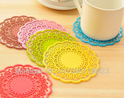 Free Shipping 6pcs Multi-color Insulation Silicone Lace Pad Non-slip Coffee Mug/Cup/Glass Coaster Table Mat Wholesale(China (Mainland))