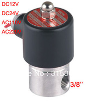 """Free Shipping 3/8"""" Stainless Steel Electric Solenoid Valve FKM Normally Closed Air Water Valve 2S040-10"""
