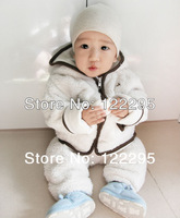 Free shipping hot design winter baby animal shaped baby warm paragraph coat + pants pack pcs