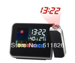 Freeshipping Cheap Digital LCD Screen LED Projector Alarm Clock Mini Desktop Multi-function Weather Station Dropshipping 8783(China (Mainland))