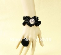 12PCS/LOT!!!Free Shipping!WS-103!Bracelet With Ring Jewelry Wholesale Black Lace Bracelet With Ring Set