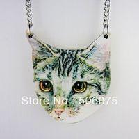 Hot Sale Hip Hop Metal Chain Wooden Men Jewelry Animal Cute Cat Pendant