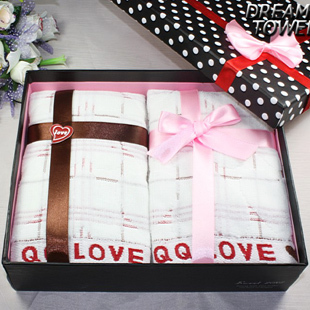free shipping wholesale 30cm*70cm 2 in one 100% cotton Show your love Cake towel birthday gifts marriage wedding gift box