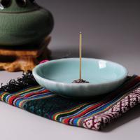 Extra large longquan celadon incense burner ceramic purple incense holder copper santalwood line hong plate aroma furnace