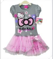 2013new fashion baby girls one-piece hello kitty dresses print  Kitty cat printing Tutu dress