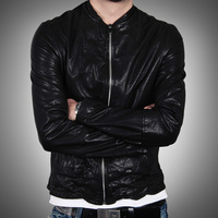Fashion design slim all-match short sheepskin genuine leather male clothing men's clothing sheep leather jacket l15