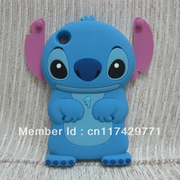 New 3D Cute Cartoon Blue Stitch Boy Body Movable Pink Ear Flip Silicone Rubber Soft Case Cover For ipod Touch 4 4G 4TH GEN