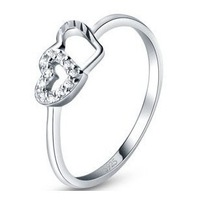 New arrival MSF brand heart to heart 925 sterling silver & AAA zircon & platinum plated ladies`rings wedding ring