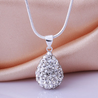 New Arrivals Shamballa Water Drop Crystal Pendant Necklace Top Quality Rhinestones Ball Bead Jewelry N033