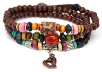 Min order $15.00 mix order Wholesale 2 pcs/Lot FS Handmade Ethnic Wood Beads Bracelets Handmade Heart Jewelry Unisex M329