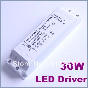 Free shipping 10Pcs/lot  hot sale 30W LED Driver Power Supply Transformer 240V DC 12V