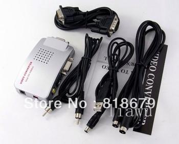 5pcs new PC Laptop Computer VGA to RCA AV Signal TV S-Video s vidio Converter Box Adapter,freeshipping