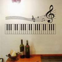 Note keyboard wall stickers piano personality music glass decoration