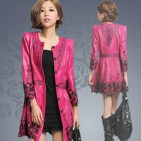 2014 autumn Spring ladies 100% sheepskin genuine leather coat plus size slim laser embroidered medium-long trench 4xl TP6