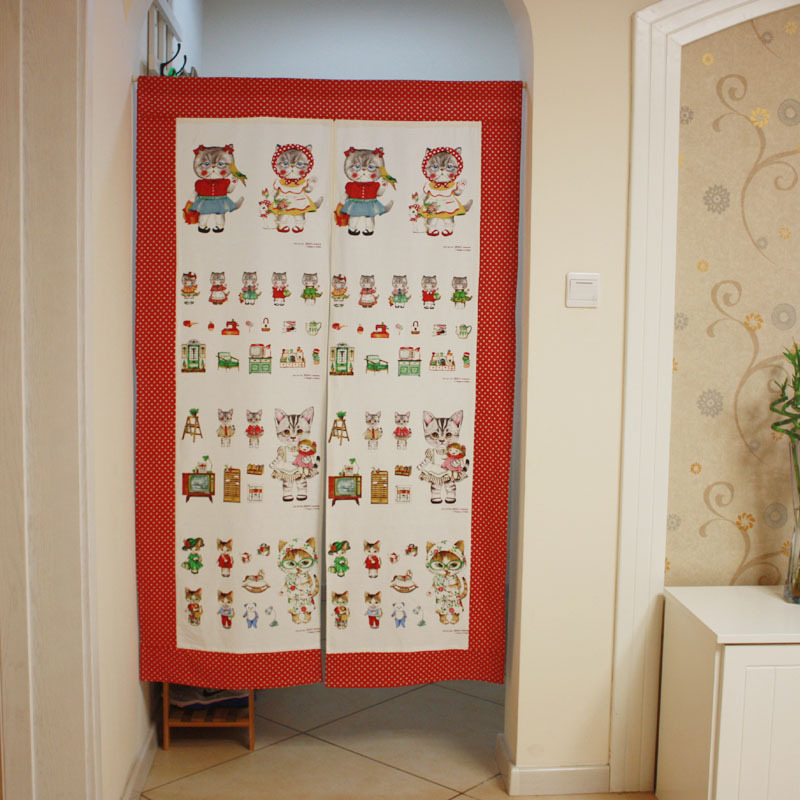 2013JUN #0010 home kitchen bedroom living room lien cats family decoration zakka Fabric door window curtain portiere(China (Mainland))
