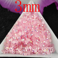Free shipping DIY 10000pcs Light Pink Magic color AB jelly 3mm resin rhinestones Nail Art Mobile phone stick drill SS12 GDZ8