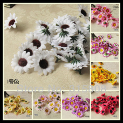Free shipping 100pcs/lot Artificial Silk Sunflower heads 3.9cm decorate for Wedding Vine / home courtyard /wedding car/basket(China (Mainland))