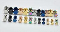 Hexagonal Flat 4-7mm Titanium Stud Earring 316 Stainless Steel Earrings DS2230 Free Shipping