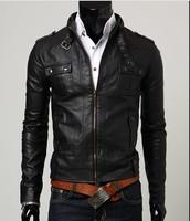 Free shipping 2013fashion Classic Men's PU Leather Coat jacket 2 Colors 4 Sizes Black,Brown M,LXL, XXL    2951