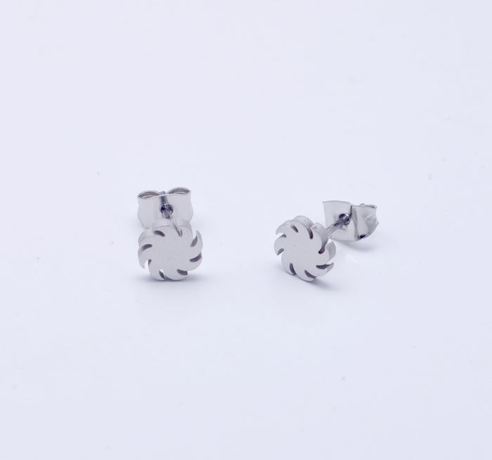 Steel Color Wind Fire Wheels Good Quality Titanium Stud Earring Boys Punk 316L Earrings Wholesales DS2072(China (Mainland))