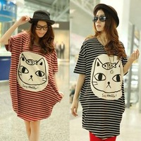 Summer maternity clothing maternity 2012 short-sleeve t-shirt dress stripe long loose design maternity top