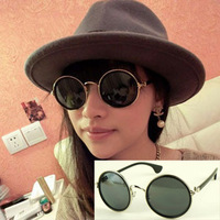 (Min order $10) Vintage round box metal sunglasses fashion star sunglasses 2109 15