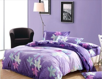 Free Shipping Maple Leaf Printed Diamond Cotton Purple 4pcs King/Queen Bedding Set/Duvet Cover/Bed Sheet/Pillowcase W0025