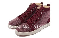 Free shipping wholesale 2013 latest wine red leather spike men canvas sports casual high shoes sneakers EUR size 39-46