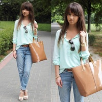 Free Shipping 2013 Women's V Neck Long Sleeve Dipped Hem Chiffon Blouse Ladies Mint Green High Street Casual Shirt Pocket Tops