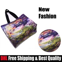 DHL Free Shipping~Fashion #31~10pcs/Lot~Galaxy Print Colorful Handbags Women Promotional Eco-friendly Designer Shopping Bags~HOT