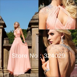 Free Shipping New Stylish A Line Backless Pink Chiffon Evening Dresses Evening Gown 2013(China (Mainland))