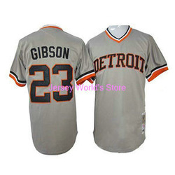 Hot Detroit Tigers 23 Gibson Throwback Grey Baseball Jerseys Free Shipping(China (Mainland))