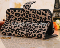 Leopard Leather Wallet Case With Stand Function For Samsung Galaxy S4 i9500,With Card Slots,100pcs/Lot DHL Free Shipping