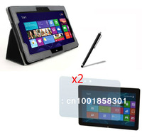 """New Folio Stand Leather Case Cover +2x Anti-Glare Matte Matted Screen Protector +Stylus for Acer Iconia Tab W510 10.1"""" Tablet"""