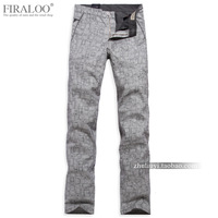 Firaloo men's clothing spring and summer new arrival male straight fluid casual pants brief check linen pants male