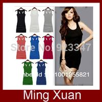 Retail Free Shipping Candy Colors Lady's Long Tank Top/H Back Vest Dress/Vest Top Long Dress 1pcs/lot