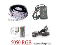 5M Flexible RGB LED Light Strip 5050 SMD 150 LEDs 30 leds/m NON- WATERPROOF + 44 Key IR remote Controller 12V 3A power adapter