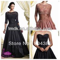 Tow-piece long sleeve lace jacket elegant black taffeta ball gowm mother of the bridedress