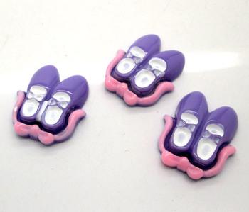 30 Purple Shoes Beads Flatback Cabochon Scrapbook Fit Diy Phone Embellishment 25x21mm