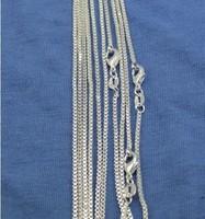 Free shipping,wholesale 1 pcs 925 Silver 1mm Box Chain Necklace Silver Necklace,925 sterling chain necklace