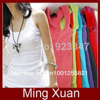 Retail Free Shipping High Quality Cotton Women's Temperament Long T-shirt/Long Tank Top 1pcs/lot