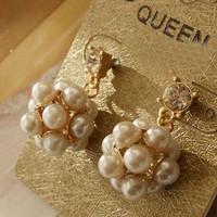 Hot Sale Min Mix Order $10, New Elegant Lovely White Pearl Beads Crystal Drop Earrings For Women