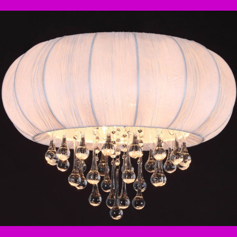 Free shipping Round Fabric and hanging clear Crystal ball ceiling fixturing D49.5 CM 4lights MX132709-4A(China (Mainland))