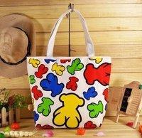 Wholesale Hot casual canvas fabric handbag! hot beach bag!Totes! colorful Teddy Bear ! shopping bags!  Free shipping!4 pcs /lot
